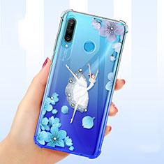Custodia Silicone Trasparente Ultra Sottile Cover Fiori per Huawei P30 Lite Blu
