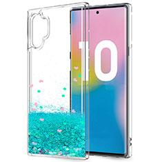 Custodia Silicone Trasparente Ultra Sottile Cover Fiori per Samsung Galaxy Note 10 Plus 5G Verde