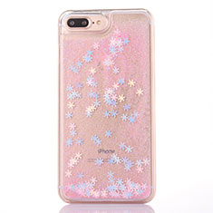 Custodia Silicone Trasparente Ultra Sottile Cover Fiori T01 per Apple iPhone 8 Plus Rosa