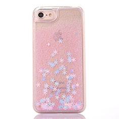 Custodia Silicone Trasparente Ultra Sottile Cover Fiori T01 per Apple iPhone SE (2020) Rosa