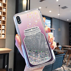 Custodia Silicone Trasparente Ultra Sottile Cover Fiori T01 per Apple iPhone XR Grigio