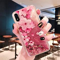 Custodia Silicone Trasparente Ultra Sottile Cover Fiori T01 per Apple iPhone XR Rosa