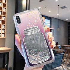 Custodia Silicone Trasparente Ultra Sottile Cover Fiori T01 per Apple iPhone Xs Max Grigio
