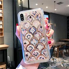 Custodia Silicone Trasparente Ultra Sottile Cover Fiori T01 per Apple iPhone Xs Multicolore