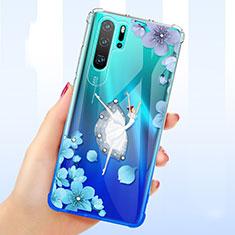 Custodia Silicone Trasparente Ultra Sottile Cover Fiori T01 per Huawei P30 Pro Blu