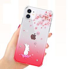 Custodia Silicone Trasparente Ultra Sottile Cover Fiori T03 per Apple iPhone 11 Rosso