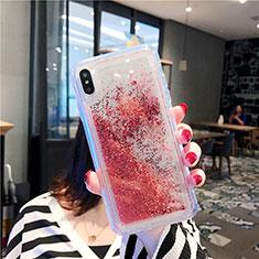 Custodia Silicone Trasparente Ultra Sottile Cover Fiori T03 per Apple iPhone Xs Max Rosso
