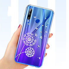Custodia Silicone Trasparente Ultra Sottile Cover Fiori T03 per Huawei Honor 20 Lite Blu