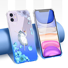Custodia Silicone Trasparente Ultra Sottile Cover Fiori T04 per Apple iPhone 11 Blu