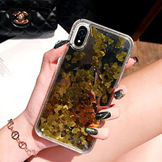 Custodia Silicone Trasparente Ultra Sottile Cover Fiori T26 per Apple iPhone XR Oro