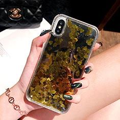 Custodia Silicone Trasparente Ultra Sottile Cover Fiori T26 per Apple iPhone Xs Oro