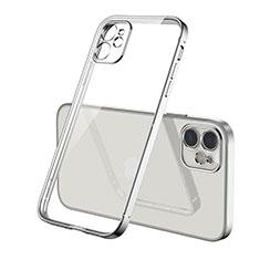 Custodia Silicone Trasparente Ultra Sottile Cover Morbida H01 per Apple iPhone 12 Max Argento