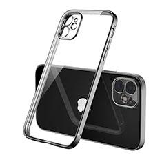 Custodia Silicone Trasparente Ultra Sottile Cover Morbida H01 per Apple iPhone 12 Max Nero
