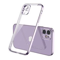 Custodia Silicone Trasparente Ultra Sottile Cover Morbida H01 per Apple iPhone 12 Max Viola