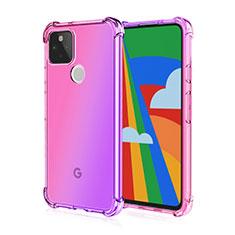 Custodia Silicone Trasparente Ultra Sottile Cover Morbida H01 per Google Pixel 5 Rosa
