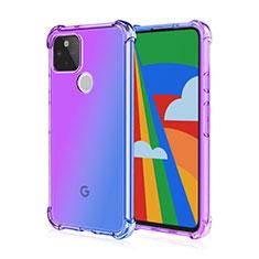 Custodia Silicone Trasparente Ultra Sottile Cover Morbida H01 per Google Pixel 5 Viola