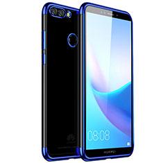 Custodia Silicone Trasparente Ultra Sottile Cover Morbida H01 per Huawei Enjoy 8 Plus Blu