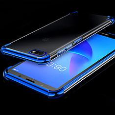 Custodia Silicone Trasparente Ultra Sottile Cover Morbida H01 per Huawei Honor 7S Blu