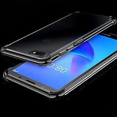 Custodia Silicone Trasparente Ultra Sottile Cover Morbida H01 per Huawei Honor 7S Nero