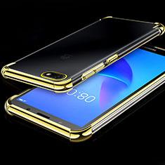 Custodia Silicone Trasparente Ultra Sottile Cover Morbida H01 per Huawei Honor 7S Oro