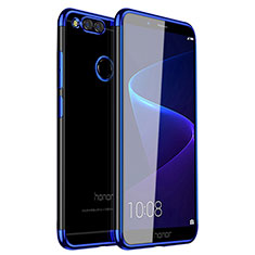 Custodia Silicone Trasparente Ultra Sottile Cover Morbida H01 per Huawei Honor 7X Blu