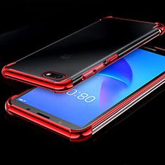 Custodia Silicone Trasparente Ultra Sottile Cover Morbida H01 per Huawei Honor Play 7 Rosso