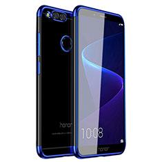 Custodia Silicone Trasparente Ultra Sottile Cover Morbida H01 per Huawei Honor Play 7X Blu