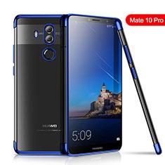 Custodia Silicone Trasparente Ultra Sottile Cover Morbida H01 per Huawei Mate 10 Pro Blu