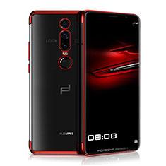 Custodia Silicone Trasparente Ultra Sottile Cover Morbida H01 per Huawei Mate RS Rosso