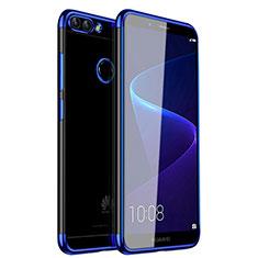 Custodia Silicone Trasparente Ultra Sottile Cover Morbida H01 per Huawei P Smart Blu