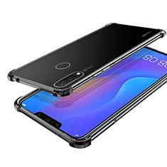 Custodia Silicone Trasparente Ultra Sottile Cover Morbida H01 per Huawei P Smart+ Plus Nero