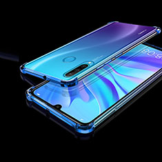 Custodia Silicone Trasparente Ultra Sottile Cover Morbida H01 per Huawei P30 Lite Blu