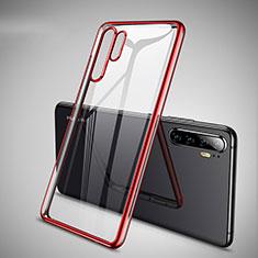 Custodia Silicone Trasparente Ultra Sottile Cover Morbida H01 per Huawei P30 Pro Rosso
