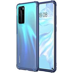 Custodia Silicone Trasparente Ultra Sottile Cover Morbida H01 per Huawei P40 Pro Blu