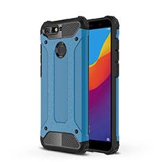 Custodia Silicone Trasparente Ultra Sottile Cover Morbida H01 per Huawei Y6 Prime (2018) Blu