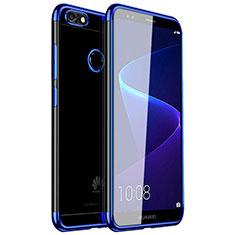 Custodia Silicone Trasparente Ultra Sottile Cover Morbida H01 per Huawei Y6 Pro (2017) Blu