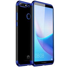 Custodia Silicone Trasparente Ultra Sottile Cover Morbida H01 per Huawei Y7 (2018) Blu