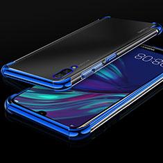 Custodia Silicone Trasparente Ultra Sottile Cover Morbida H01 per Huawei Y7 Prime (2019) Blu