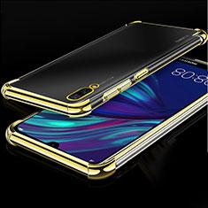 Custodia Silicone Trasparente Ultra Sottile Cover Morbida H01 per Huawei Y7 Prime (2019) Oro