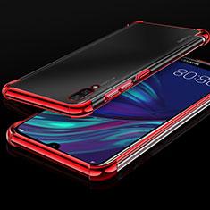 Custodia Silicone Trasparente Ultra Sottile Cover Morbida H01 per Huawei Y7 Prime (2019) Rosso