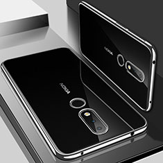 Custodia Silicone Trasparente Ultra Sottile Cover Morbida H01 per Nokia 6.1 Plus Argento