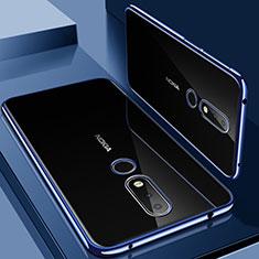 Custodia Silicone Trasparente Ultra Sottile Cover Morbida H01 per Nokia 6.1 Plus Blu