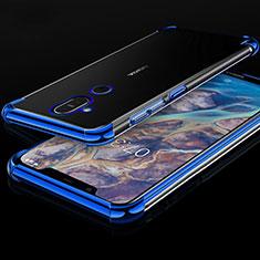 Custodia Silicone Trasparente Ultra Sottile Cover Morbida H01 per Nokia 7.1 Plus Blu