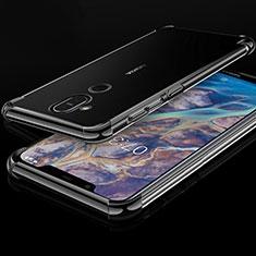 Custodia Silicone Trasparente Ultra Sottile Cover Morbida H01 per Nokia 7.1 Plus Nero