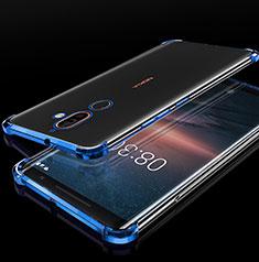Custodia Silicone Trasparente Ultra Sottile Cover Morbida H01 per Nokia 7 Plus Blu
