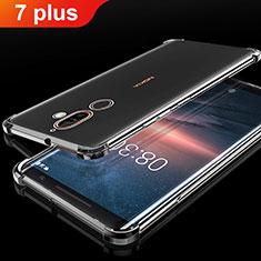 Custodia Silicone Trasparente Ultra Sottile Cover Morbida H01 per Nokia 7 Plus Nero