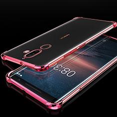 Custodia Silicone Trasparente Ultra Sottile Cover Morbida H01 per Nokia 7 Plus Oro Rosa