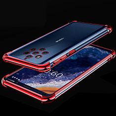 Custodia Silicone Trasparente Ultra Sottile Cover Morbida H01 per Nokia 9 PureView Rosso
