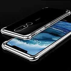 Custodia Silicone Trasparente Ultra Sottile Cover Morbida H01 per Nokia X5 Argento
