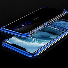Custodia Silicone Trasparente Ultra Sottile Cover Morbida H01 per Nokia X5 Blu